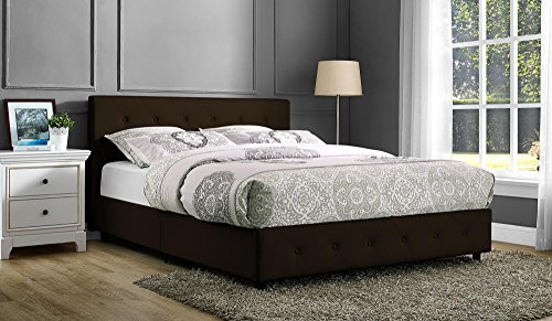DHP Dakota Platform Bed with Tufted Upholstery in Faux Leather, Stylish Headboard, Includes Side Rails, Queen Size, Brown