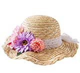 Connectyle Kids Classic Lovely Summer Straw Hat Cap Flowers Beach Sun Protection Hats for Girls