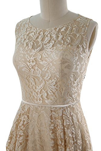 MACloth Women Lace Cocktail Dress Vintage Knee Length Wedding Party Formal Gown Azul