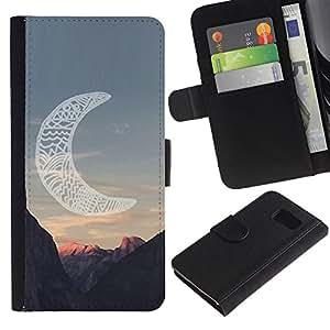 LASTONE PHONE CASE / Lujo Billetera de Cuero Caso del tirón Titular de la tarjeta Flip Carcasa Funda para Samsung Galaxy S6 SM-G920 / moon native American Indian canyon