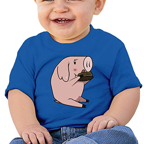 (XHX403 Pig Eating Infant Kid's T Shirt Cotton Tee Toddler Baby)