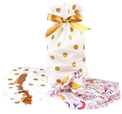 (Zealax 12pcs Treat Bags with 100 Sheets Wax Candy Wrappers-Gold Polka Dot Print Drawstring Plastic Favor Bags for Cookie Roasting Treat Gift Wrapping Buffet -Twisting Wax Paper for Caramels)