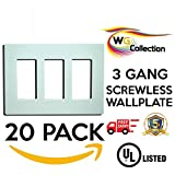 WG Collection 3 - Gang Decorator Screwless Wall Plate 20 Pack, Durable Polycarbonate,Compatible with any Outlet, White Color Finish