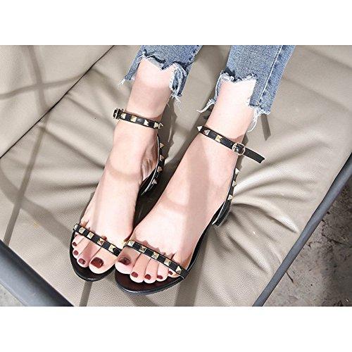 QIMAOO Womens Ladies Sandals Peep Toe Shoes Black aA8tnWeURk