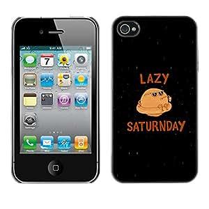 Caucho caso de Shell duro de la cubierta de accesorios de protección BY RAYDREAMMM - Apple iPhone 4 / 4S - Saturn Funny Planet Caricature Lazy Saturday Quote