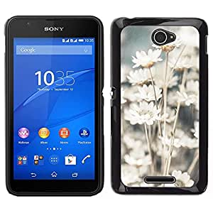 Sony Xperia E4 Único Patrón Plástico Duro Fundas Cover Cubre Hard Case Cover - Sun White Flowers Floral Nature Field