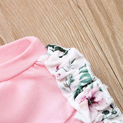 NUWFOR Baby Girls Kids Floral Clothes Long Sleeve T-Shirt+Pants+Headband Outfits Set(Pink,3-6Months by NUWFOR (Image #5)