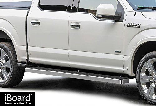 APS iBoard (Silver 6 inches) Running Boards | Nerf Bars | Side Steps | Step Rails for 2015-2019 Ford F150 SuperCrew Cab Pickup 4-Door / 2017-2019 Ford F-250/F-350 Super Duty
