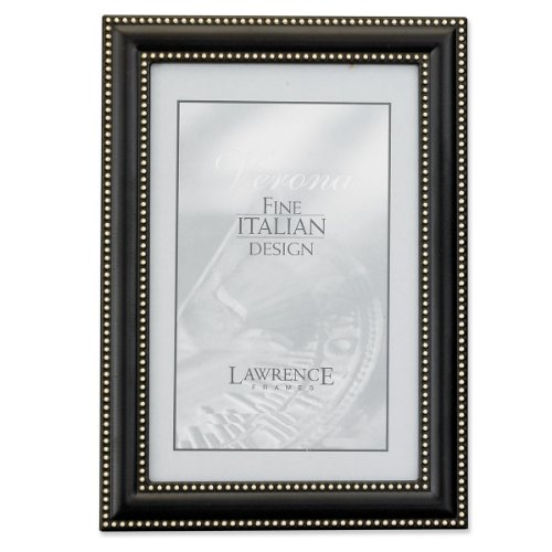 Lawrence Frames 4 by 6 Metal Picture Frame Oil Rubbed Bronze with Delicate Beading