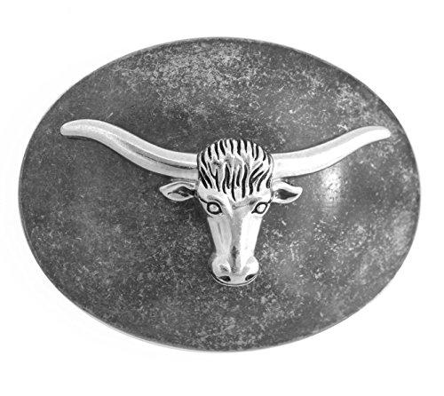 [571- Men's Western Cowboy Texas Longhorn Steer Nickel Oval Belt Buckle] (Mens Oval Belt Buckle)