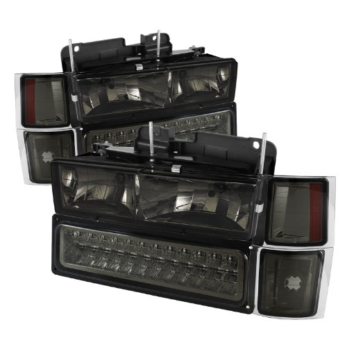 Chevy C/k Series 1500/2500/3500 / Chevy Tahoe /C/k Series 1500/2500/3500 / Chevy Silverado / Chevy Suburban / Chevy Suburban Crystal Headlights w/ Corner & Bumper Chrome Housing with Smoked - Crystal Silverado