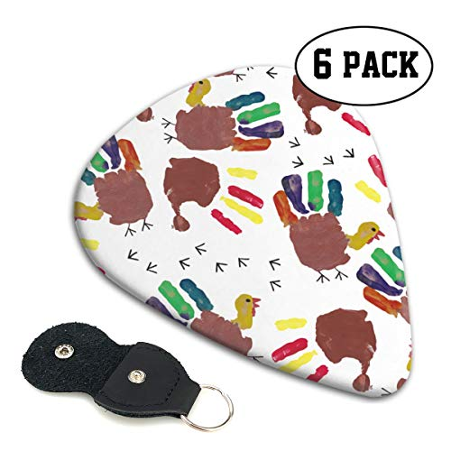 (Thanksgiving Turkey Hand Print Ultra Light 0.46 Medium 0.71 Heavy 0.96mm Printed Round Flat Celluloid Jazz Electric Acoustic Bass Guitar Pick Ccessories Variety Pack)