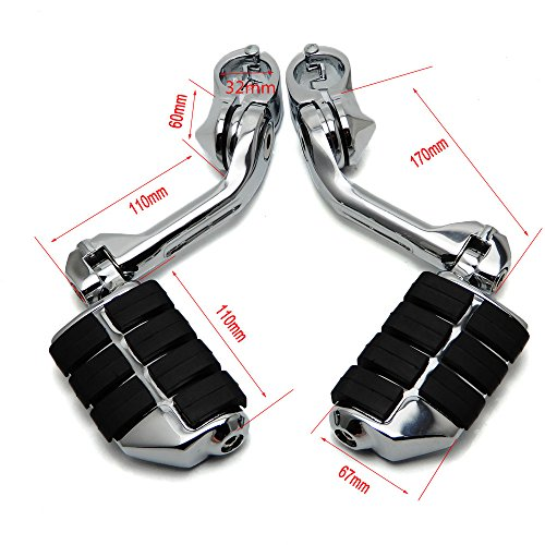 Motorcycle Highway Pegs KEMIMOTO Long Adjustable for 1.25'' Engine Guard Sportster Softail Electra Glide Road King Street Glide by KEMIMOTO (Image #1)'