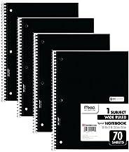 Mead Cadernos espirais, 1 assunto, papel pautado largo, 70 folhas, 26 x 19 cm, preto, pacote com 4 (38401)