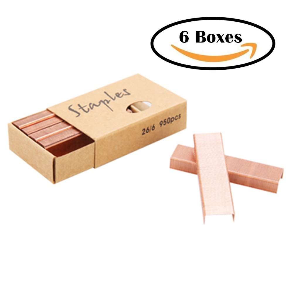 METAN 26/6 Standard Staples, 12mm Width 950/Box, 6 Boxes/Pack 5700 Count (Rose Gold)