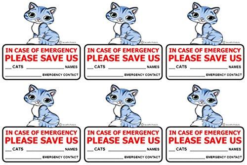6 Cat Pet Rescue Window Door Sticker Decals, Size - 4