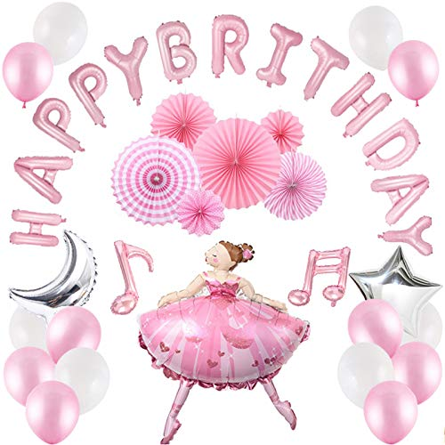 40 Pcs Girls Birthday Party Supplies, Pink Ballet Dancing Girl Balloons Sets, Happy Birthday Banner, Musical Note Balloons, Latex Balloons, Foil Pentagram and Moon Balloon ()