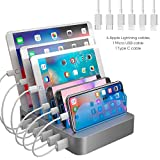 Hercules Tuff Charging Station Organizer for Multiple Devices - 6 Short Mixed Cables Included for Cell Phones, Smart Phones, Tablets, and Other Electronics