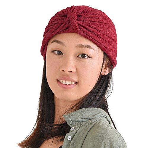 CHARM Casualbox | Womens Fashion Turban Twist Hat Woven Headwrap Costume Crepe Texture Festival Boho Red ()