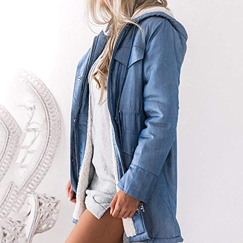 Veste Femmes En Mrulic Hiver Denim Avec Capuche À Bleu Manteau Manches Composite Longues O1wq4aB