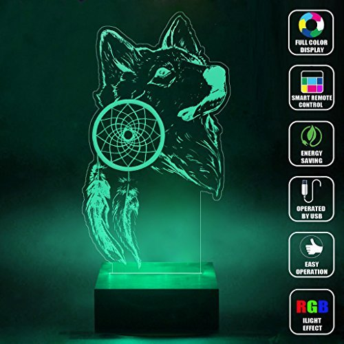 CMLART Handmade Dreamcatcher Wolf Art 3d Lamp RGB Full Color 44 Key Remote control LED Night Light Best Gift Desk Table Lighting Home Decoration Toys (Dragonfly Remote Control Toy)