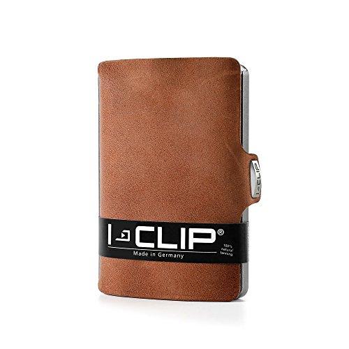 (I-CLIP - Soft Touch (Oak) - Slim Wallet - Minimalist, Thin Design & Money Clip)