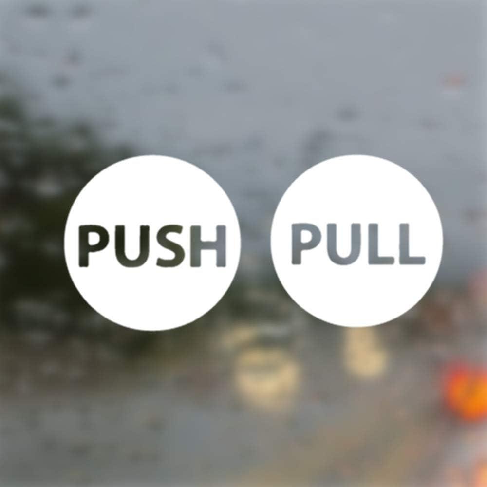 "Pull & Push Door Stickers Safety Sign Decals Shop Window Salon Bar Cafe Restaurant Office (Set of 2, 4.5"")"