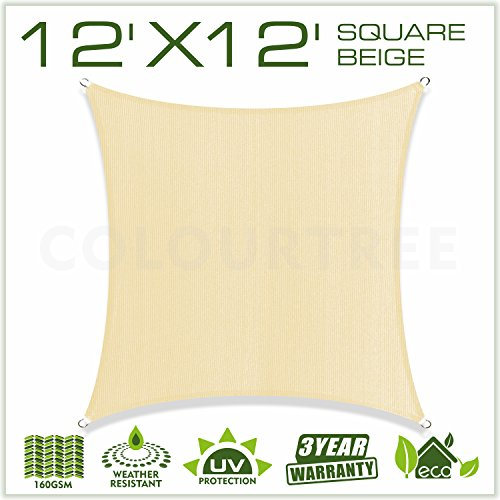 Colourtree 12 X 12 Sun Shade Sail Square Beige Canopy