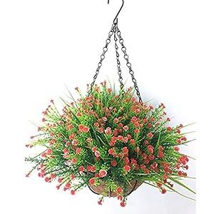 MARJON FlowersPlastic Baby's Breath Flowers Gypsophila Artificial Flower Outdoor Indoor Patio Lawn Garden Hanging Basket with Chain Flowerpot,Red Outdoor Indoor for Home/Garden Decoration 93