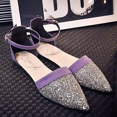 LFNLYX Tacones mujer Primavera Verano Otoño Confort Casual Glitter Stiletto talón otros Negro Plata rojo rosa caminando Purple