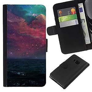 """A-type (Hermosa galaxia púrpura"""") Colorida Impresión Funda Cuero Monedero Caja Bolsa Cubierta Caja Piel Card Slots Para HTC One M9"""