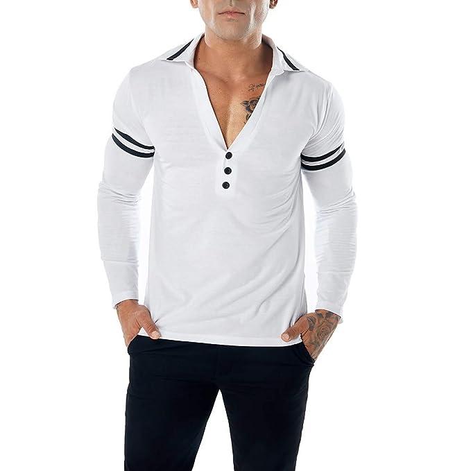Camiseta de Manga Larga Delgada con Cuello en V para Hombre Camiseta de Manga Larga con