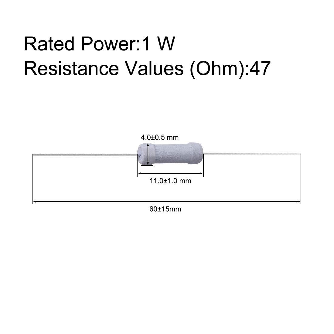 sourcing map 50Pcs 1W 1 Watt Oxyde m/étal Film R/ésistance Radial 47 Ohm /±5/% Tol/érance