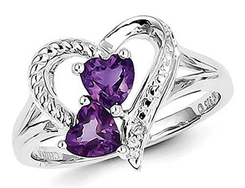 (Amethyst Double Heart Ring 4/5 Carat (ctw) in Sterling Silver)