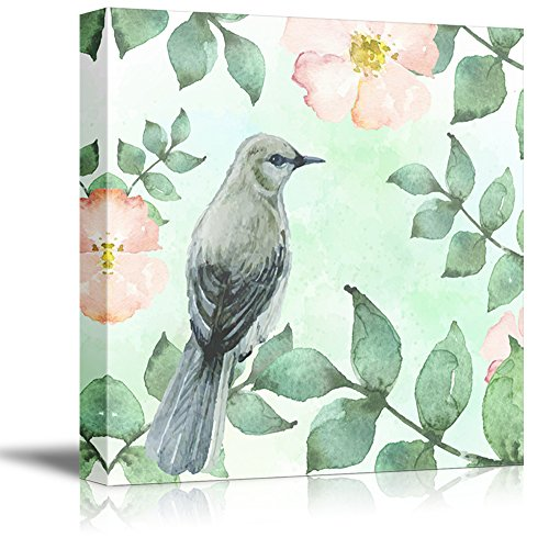 Square Watercolor Style Painting of Bird and Flowers
