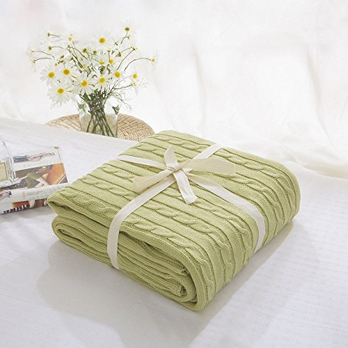 [Prosshop Crocheted Blanket Handmade Super Soft Warm Twist Cotton Cable Knitting Throw Sleeping Cover Blanket Rug for Kids or Adults Bedroom Sofa/Bed/Couch/Car/ Quilt Living Room/ Office (Light Green)] (The Big Comfy Couch Costume)