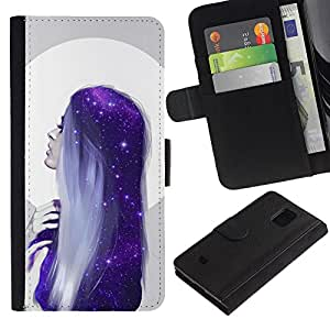 A-type (Moon Woman Blue Hair Stars) Colorida Impresión Funda Cuero Monedero Caja Bolsa Cubierta Caja Piel Card Slots Para Samsung Galaxy S5 Mini (Not S5), SM-G800