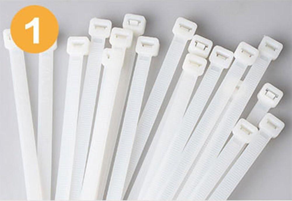 Cdet 100PCS Serre-c/âbles en Nylon//Attache C/âble//Collier Serrage 2.5x200mm Blanc