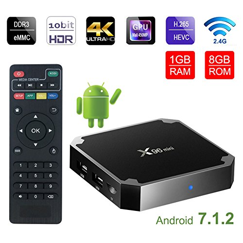 Greatlizard Android 7.1.2 X96 Mini TV Box Quad Core 1GB/8GB 2.4G Wifi 4K HD VP9 HEVC Decoding Supported