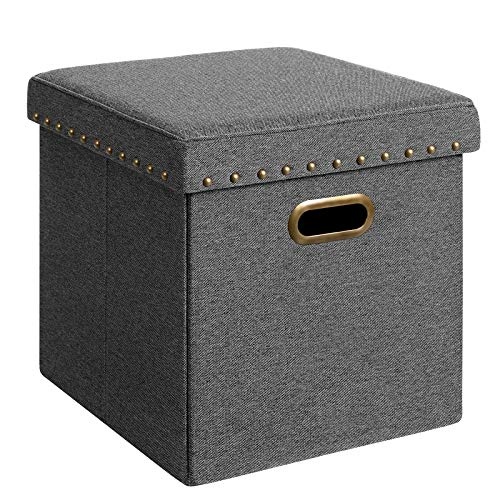 SONGMICS Storage Ottoman Cube with Tray, Padded Foldable Bench with Handles, Holds up to 660 lb, Space-Saving Footstool, 15 x 15 x 15 Inches, Dark Gray ULSF25GYZ (With Lid Ottoman Tray)