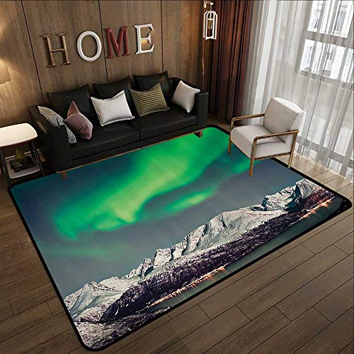 Outdoor Rugs,Nature Decor,Aurora Above Fjords Magical Nordic Northern Lights Sky Arctic Solar Scenery,Jade Green 47