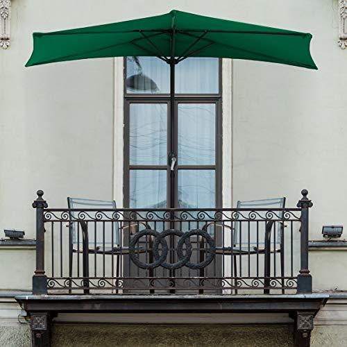 Pure Garden 50-LG1036 Half Round Patio Umbrella with Easy Crank, 9 ft, Hunter Green (Balcony Umbrellas)