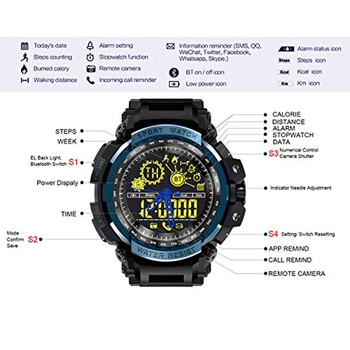 YIGEYI HG-5ATM Waterproof Sports Smart Watch Wrist Pedometer for Android for iPhone The Perfect one for You (Color : Black)