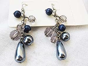 PRINCIPLES Grey bead cluster drop Earrings (PR22)