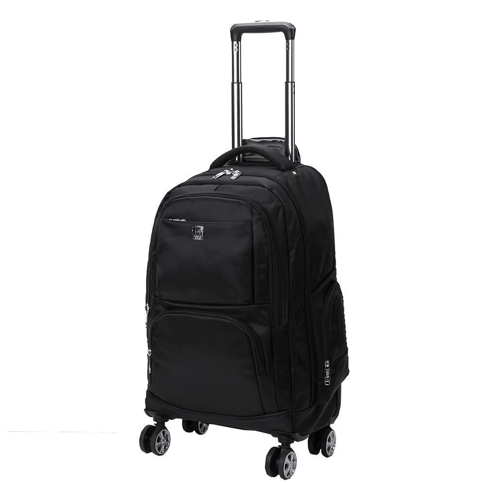 ナイロン防水ローリングバックパック、フリーホイール旅行スクールホイールバックパック、盗難防止ジッパー付き機内持ち込み荷物(ブラック)   B07L6BJT2D