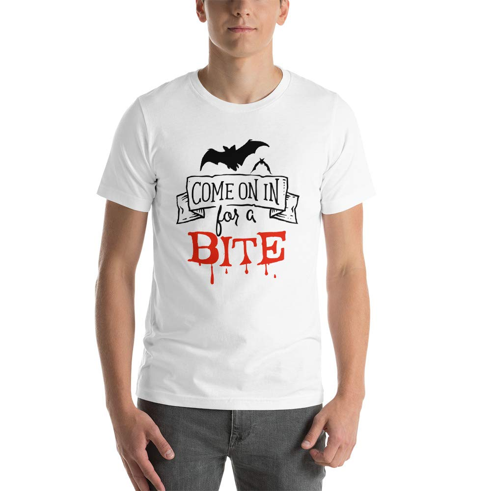 Unisex Come on in for a bite Colorful Wardrobe Halloween T-Shirt 100/% Cotton