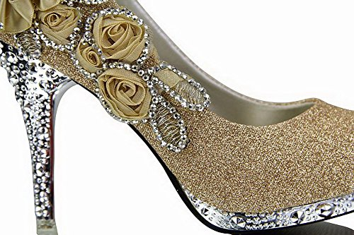 VogueZone009 Women's Sequins Trendy Cone Heel Pull On Pumps Shoes with Flowers Gold 2fOGhb4QfS