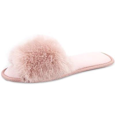 Amazon.com | Caramella Bubble Open Toe Fur Summer Slippers Slip on Fluffy Slides for Women | Slippers