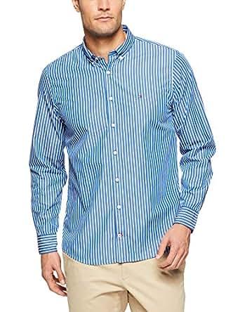 TOMMY HILFIGER Men's Button Down Slim Fit Poplin Shirt, Mazarine Blue/Bright White, MD
