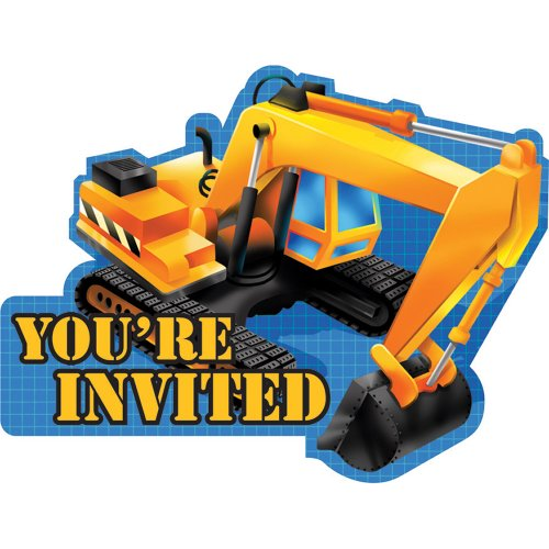 Creative Converting Under Construction Birthday Party Excavator Shaped Invitations, 8 Count]()